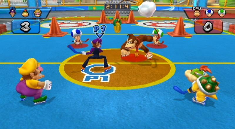 Wii Mario Sports Mix hockey gameplay